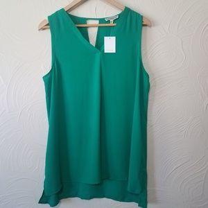 Pleione NWT Green Sleeveless V neck top sz L